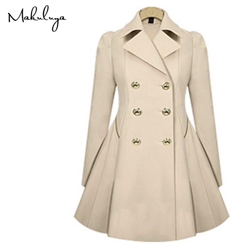 Makuluya Spring Autumn style Elegant fashion long commuter windbreaker jacket Double-breasted lapel dress coat QW
