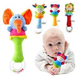 Presente do bebê promoção quente 15 projetos brinquedos macios modelo animal handbells chocalhos zoo squeeze me chocalho brinquedo educativo do bebê