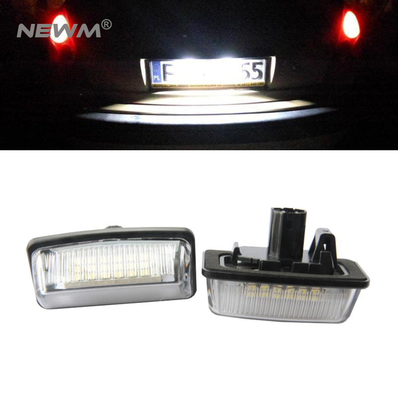 2PCS White 18 LED 3528 SMD License Plate Lights Lamps Kits for Toyota Crown Cars License Light Replacement Kits cawanerl car 5630 smd led bulb led kit package white truck dome map trunk license plate light for 2009 2016 dodge ram 1500