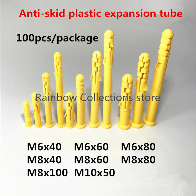 100Pcs/package   Plastic PP Expansion Tube M6/8/10  Without screws Free shipping