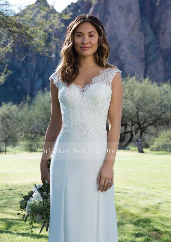 V-Neck Sheath Wedding Dress With Lace 2019 Gowns Open Back Court Train Bridal Dress  Vestido De Noiva Wedding