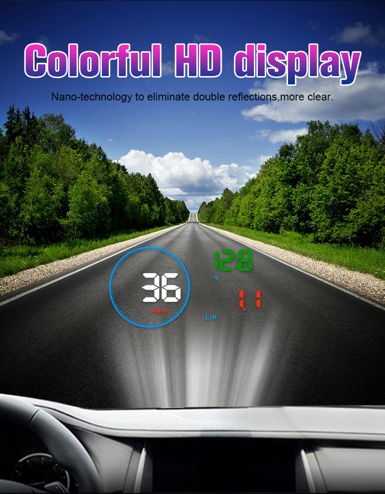 Image 4 - GEYIREN M9 HUD Display Car 5.5 Inch Windscreen Projector OBD2 EUOBD Car Driving Data Display Speed RPM Fuel Consumption 2018 New-in Head-up Display from Automobiles & Motorcycles