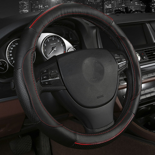 4colors Cowhide Car Steering Wheel Cover Size 38cm For Toyota Rav4 Corolla Prius Camry Crown Vios Mark X Auris Styling