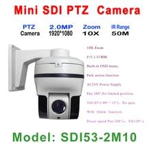 10x Auto Zoom 2MP Mini IR 50M High Speed Dome PTZ Camera HDSDI 1080P 5 1