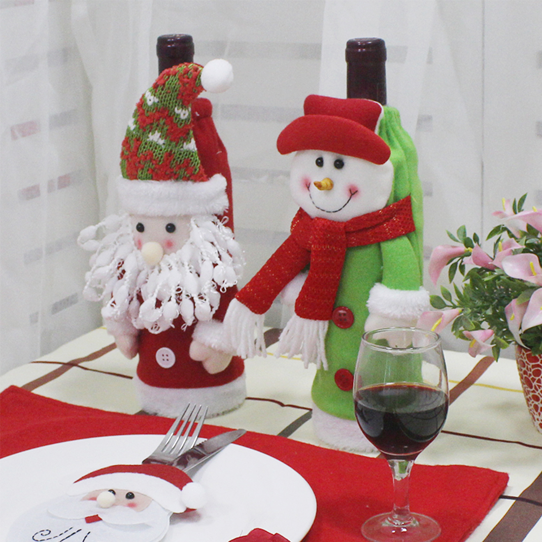 Top Christmas Bottle Sets Santa Claus Snowman Wine Bottle Cover Holders Wedding Birthday Party Decoration Supplies