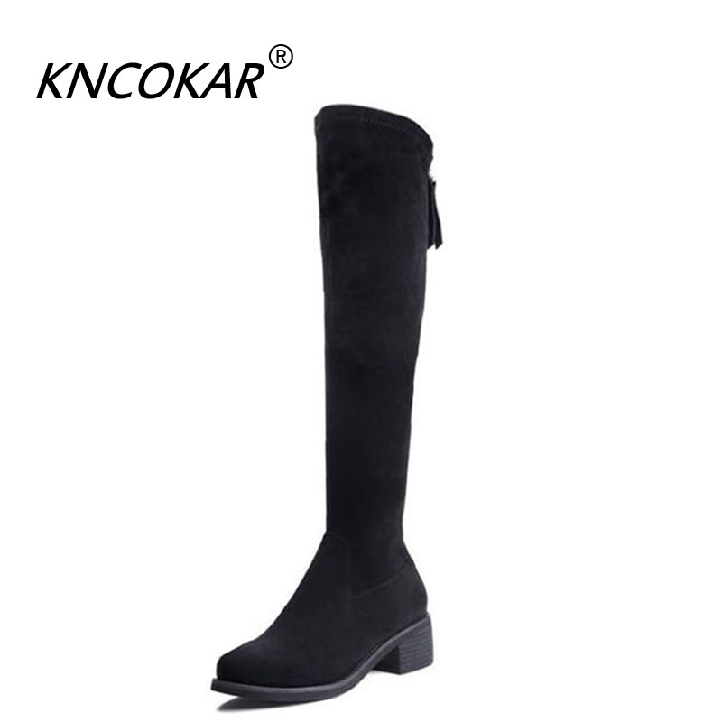 цена на KNCOKAR fall 2018 new style boots women's shoes with knee high in style round head high boots