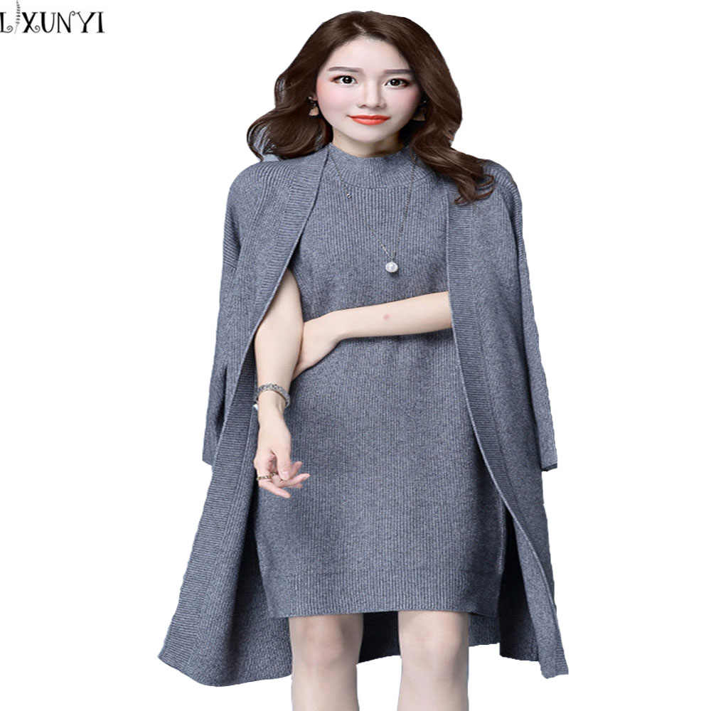 b4c6388a1d58b 2019 Autumn Winter Women Elegant Dress Suits two-piece Dress with Jacket  Knitted Plus Size