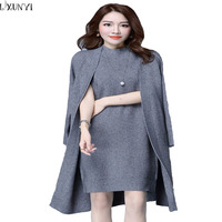 2016 Spring Autumn Women Elegant Dress Suits Two Piece Dress With Jacket Knitted Plus Size Professional