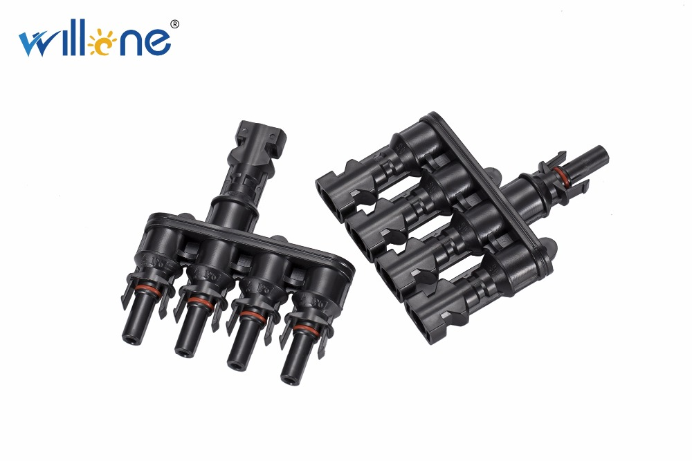 Willone 1 pair free shipping MC4 T Branch 30A Solar Panel Connector Cable Coupler Combiner MC4