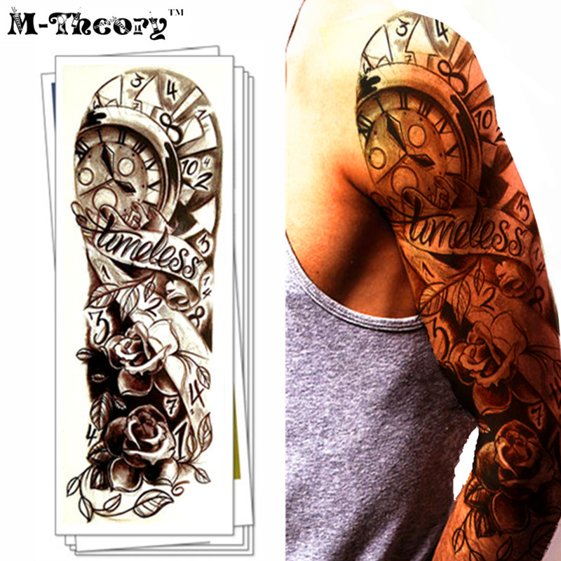Hot Sale Full Sleeve Temporary 3d Makeup Fake Tattoos Stciker Henna