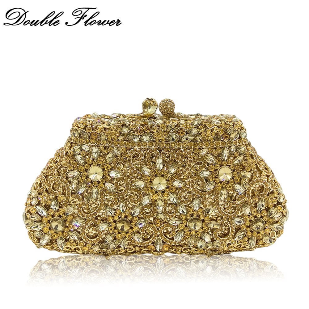 Double Flower Hollow Out Women Gold Crystal Clutch Evening Handbags Wedding Party Cocktail Diamond Metal Minaudiere Purse Bag colorful hollow out apple shape women gold crystal clutch evening bag wedding party cocktail minaudiere handbag purse