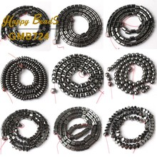 Natural Stone Black Hematite Cylinder Column Ball Square Rondelle Big Hole Beads For Jewelry Making Diy Bracelet 15Inch