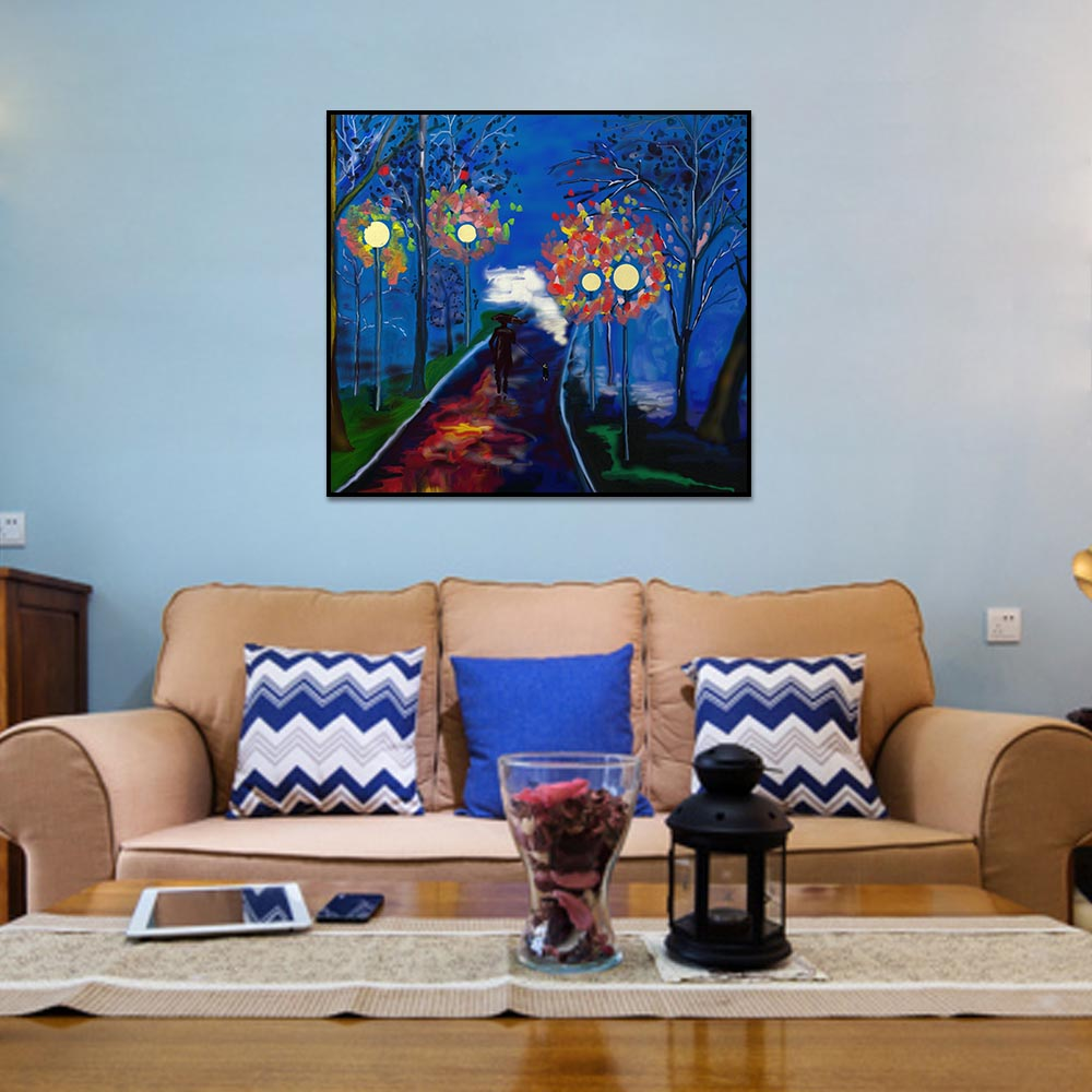 Unframed Canvas Prints Oil Painting People Walking The Dog Prints Wall Pictures For Living Room Wall Art Decoration Dropshipping