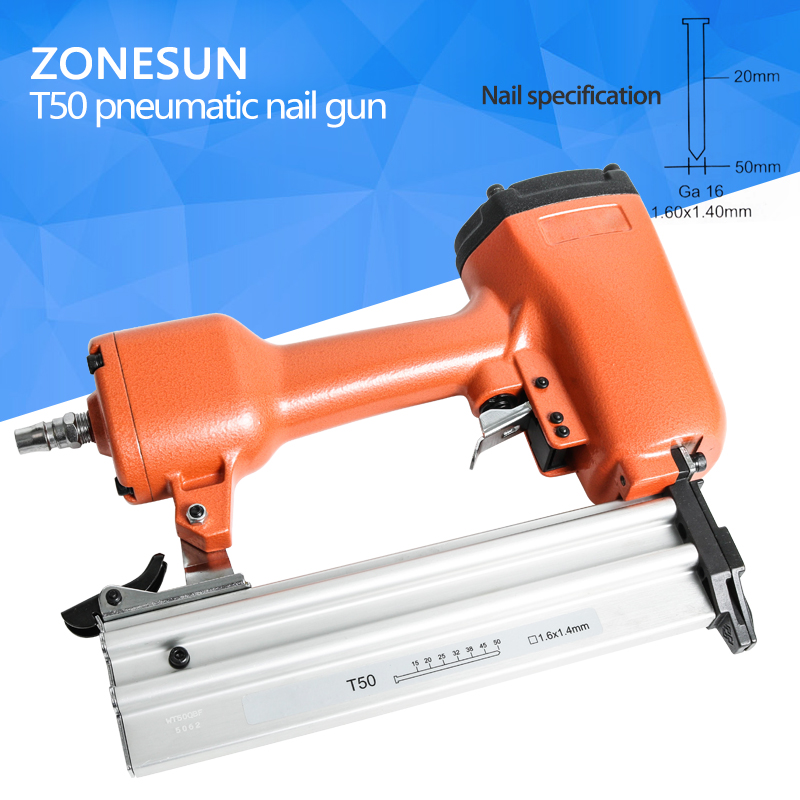 ZONESUN Pneumatic Air Stapler Gun Stapler Nail Gun Stapling Machine For Furniture Woodworking Carpentry Decoration Carpenter50mm free shipping deli 0451 candy color stitching machine set mini stapler belt clip staples attached manual mini stapler