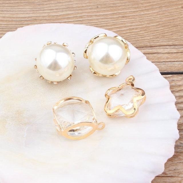 40 Unids/lote DIY Resultados de La Joyería de Cristal Rhinestone Redondo de La Perla Colgante Charm Charms Oro Tono Plateado de Aleación De Zinc 3D Estrella Colgantes