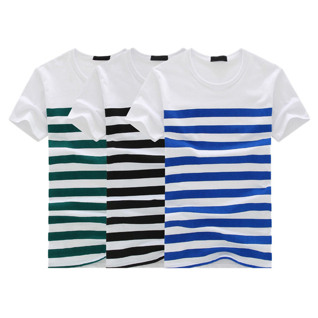 Men's Fashion Casual Stripe Printed soft and comfortable Short Sleeve T-shirt Pullover Top Blouse Tee L50/0129