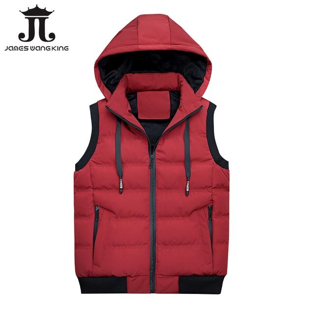 ee04b521195bf Plus size XXXL vest men 2018 new Casual sleeveless hoodie winter warm red  waistcoat zipper slim sleeveless jacket 1807