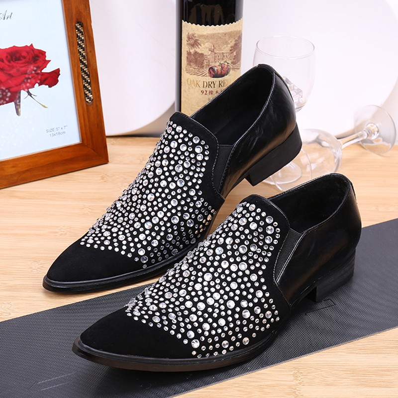 Choudory Red Black Beading Men Shoes Genuine Leather Loafer Velvet Slippers  Rhinestone Pointed Toe Dress Wedding Shoes -in Formal Shoes from Shoes on  ... 2f299811d704