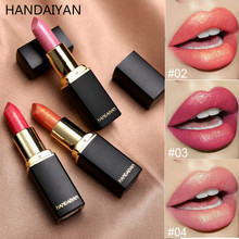 HANDAIYAN Shimmer Lipstick Glitter Gold Pearl Pink Lip Makeup Waterproof Long Lasting Stay Pigment Lips Shiny Cosmetic
