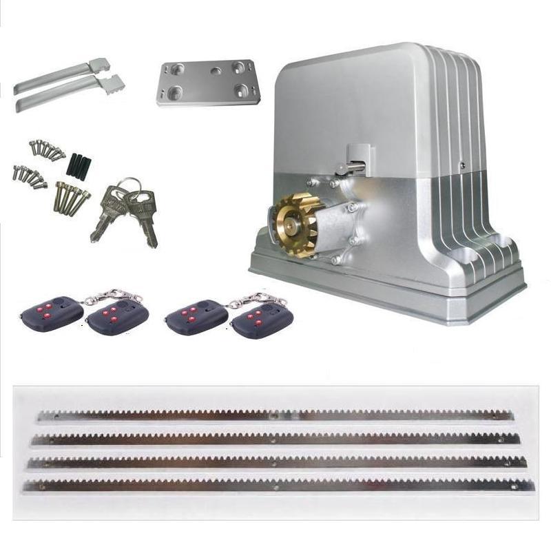 Free shipping 800kg automatic electric sliding gate motor 4 remote control 4m steel racks sensor lamp
