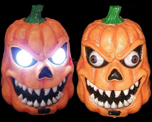 free shipping 10pcslot halloween supplies halloween decoration pumpkin lamp luminous electric voice activated