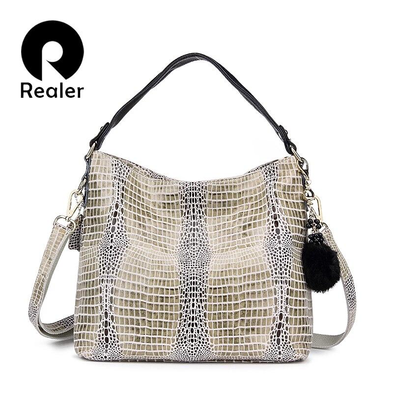 REALER Women Genuine Leather Serpentine Pattern Handbag Tote Bag Female Leather Handbags Ladies Shoulder Messenger Bags