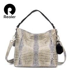 Mais real das mulheres de couro genuíno serpentina padrão bolsa tote bolsa feminina bolsas de couro senhoras ombro sacos do mensageiro