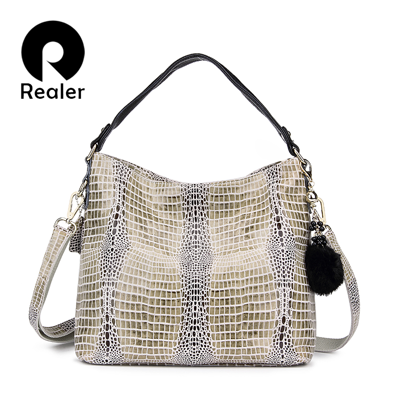 REALER Women Genuine Leather Serpentine Pattern Handbag Tote Bag Female  Leather Handbags Ladies Shoulder Messenger Bags