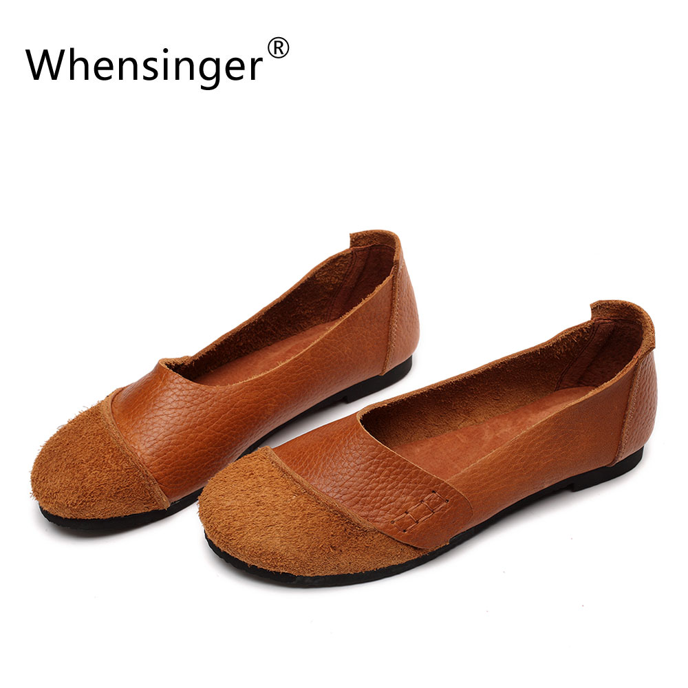 Whensinger - 2017 New Arrival Woman Shoes Slip On Ladies Brand Flats Genuine Leather Style 2 Colors D1611