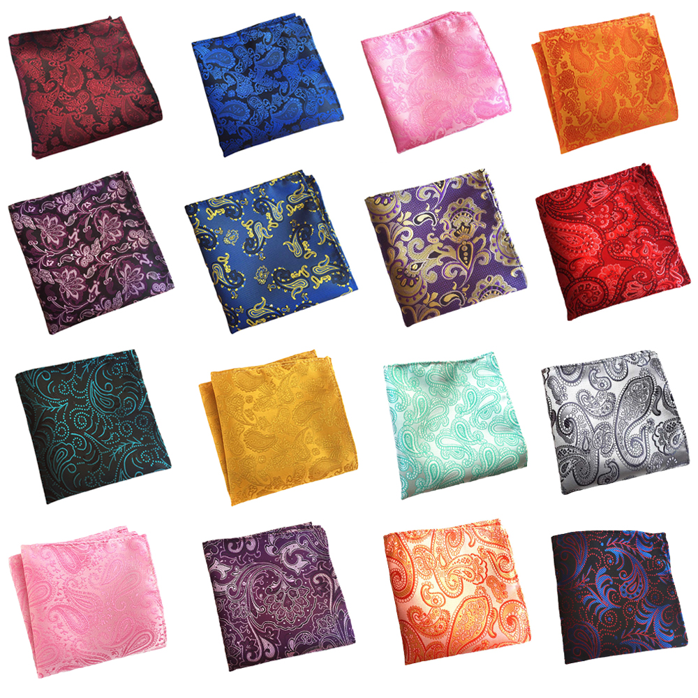 Mens Colorful Paisley Pattern Pocket Square Gentlemen Wedding Handkerchief  BWTHZ0326