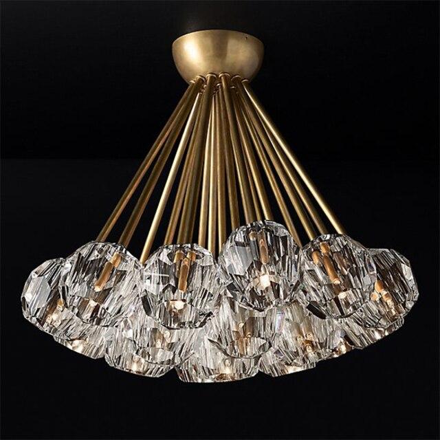 Yeni kristal modern avize abartılı bakır İskandinav restoran oturma odası yatak odası dekorasyon lamba