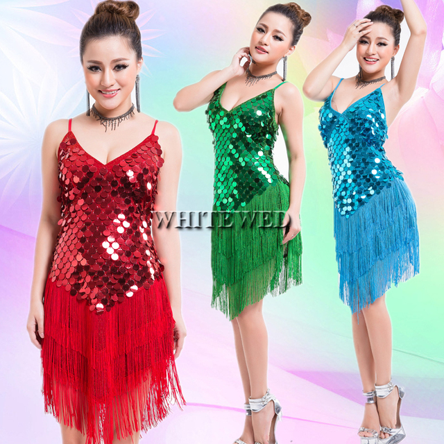 369fc5f3531d Women's 1920s Tassel Sequin Latin Tango Sala Fringe Dance Mini Fancy Flapper  Dress Ballroom Clothing Wear Cheap