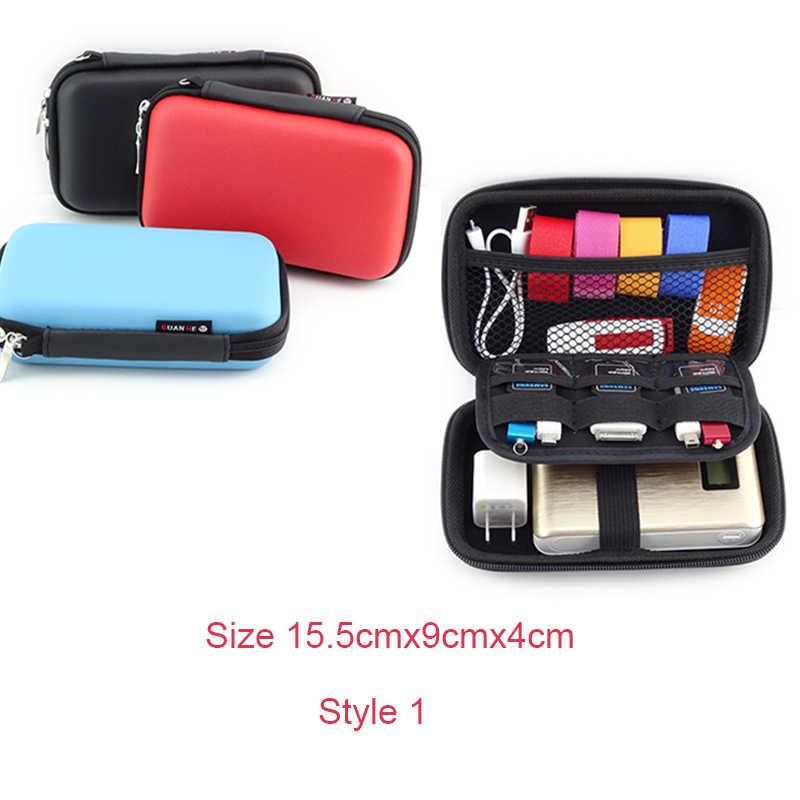 Lasperal Zipper Earphone Case Kulit Penyimpanan Portabel Perjalanan Kotak USB Kabel Organizer Membawa Tas Keras untuk Koin Kartu Memori