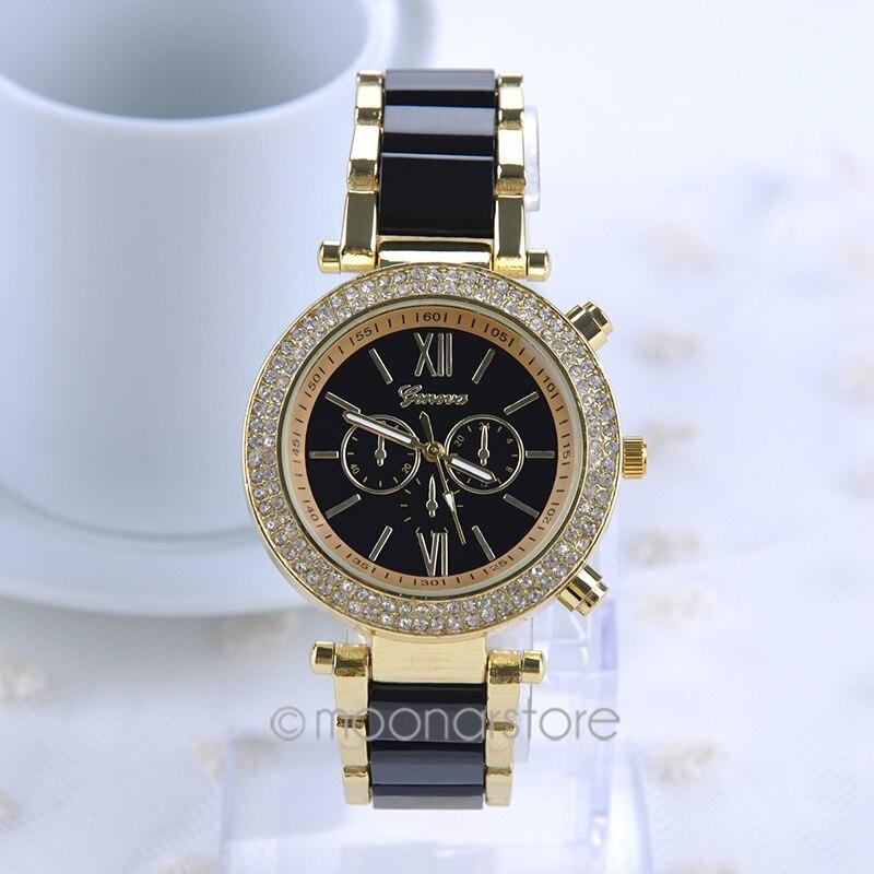 Hot New Ladies Women Luxury Bracelet Dress Watches with Artificial Ceramic Steel Strap Rhinestones Quartz Wrist Watch