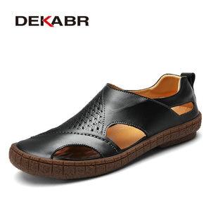Image 5 - DEKABR marka letnie buty na plażę 2021 projektanci mody męskie sandały Split skórzane kapcie dla mężczyzn Slip On obuwie męskie