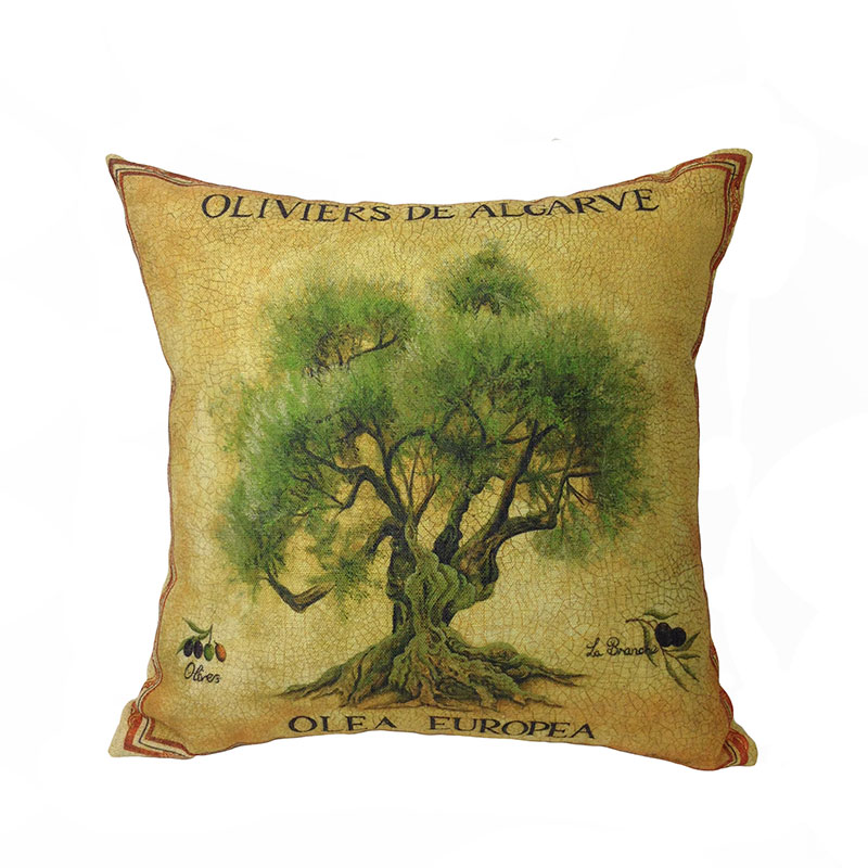 be Home 2016 New Arrival Contemporary Plant Olive Tree Digital Printed Linen/polyester Decorative Pillow Case Gift Cushion Cove