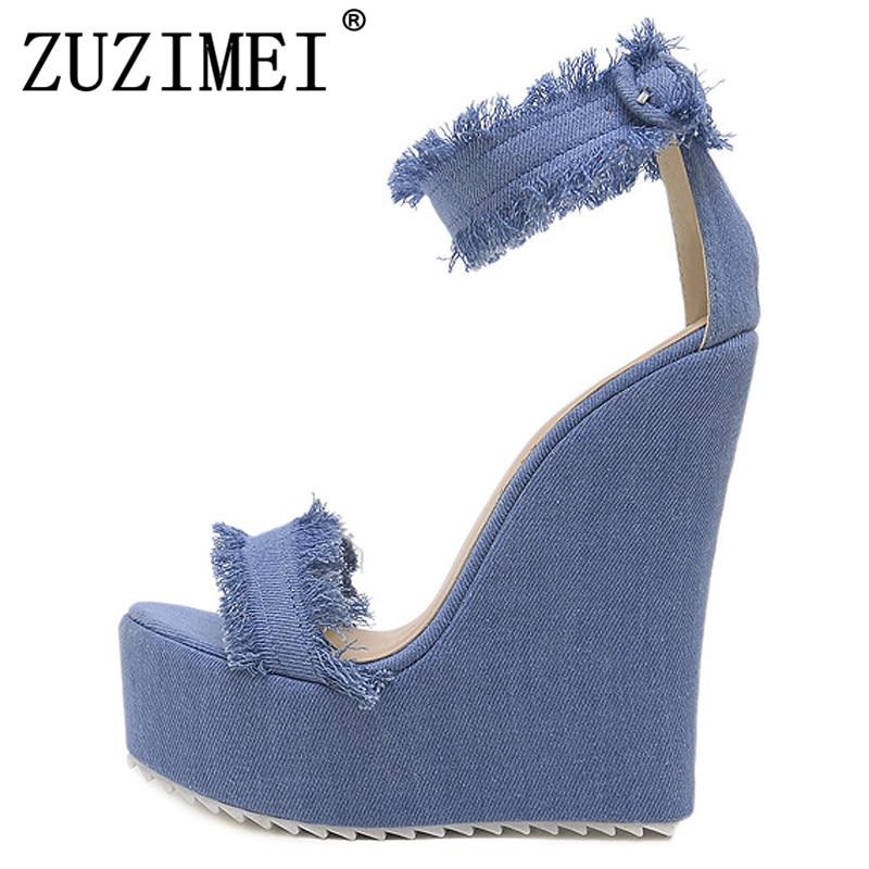 Femmes Chaussures Coins À Sandale Pour Sandales Denim Hauts Bout Ouvert Talons forme Cales Bleu Plate PTwZuXOilk