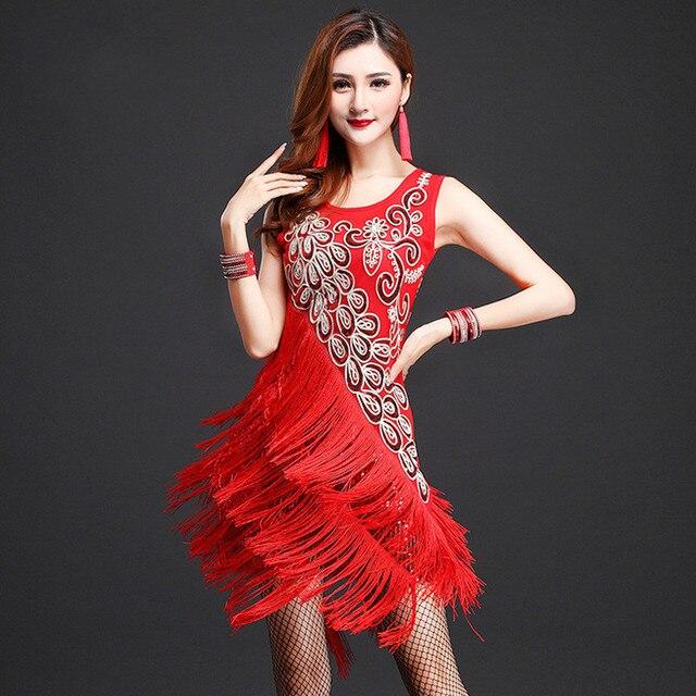 b776529fe7c9b Stage Performance Sequins Fringe Tassel Latin Dance Dress for Women  Competition Ballroom Salsa Samba Tango Dance