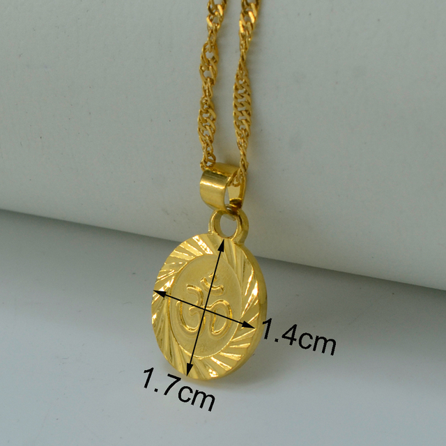 OHM Hindu Buddhist AUM OM Necklace Pendant Hinduism Yoga India Outdoor Sport Gold Plated/Silver Yoga Jewelry Women #024806
