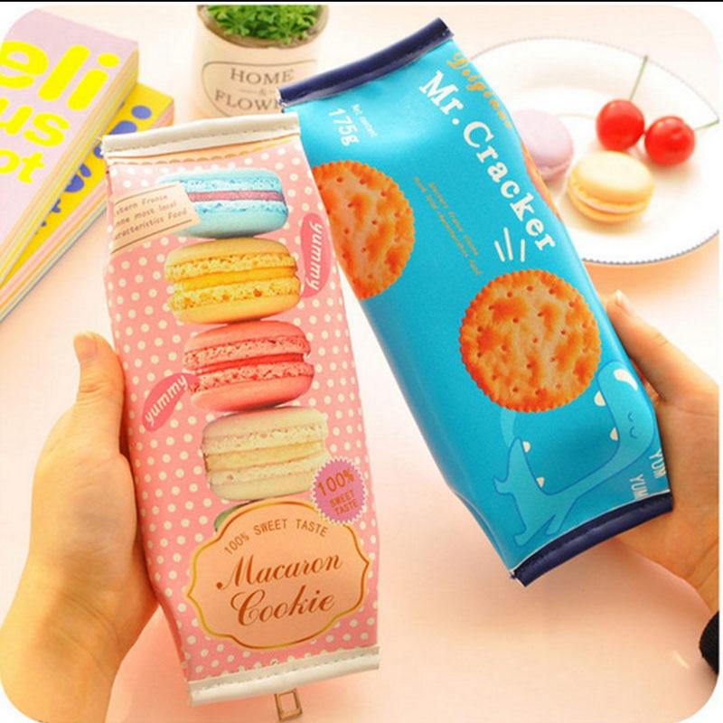 Korean Creative Macaron Cracker School Pencil Case Cute PU Leather Pen Bag Kawaii Stationery Pouch Office School Supplies