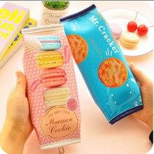 Pen Bag Pouch Pencil-Case Kawaii Stationery School-Supplies Office Korean Cute Macaron-Cracker