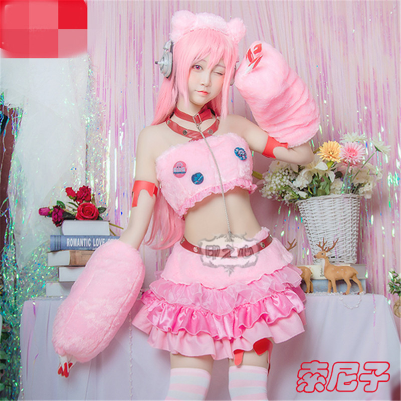 SUPERSONICO Violent Bear Cat Full Suit Pink Uniforms Cosplay Costume Dresses