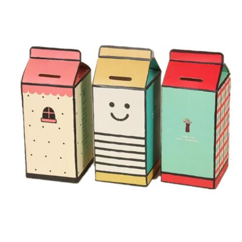 Us 0 78 35 Off Cfen A S Diy Piggy Bank Money Box Milk Box Shape Paper Saving Box Storing Coin Box 1pc In Money Boxes From Home Garden On