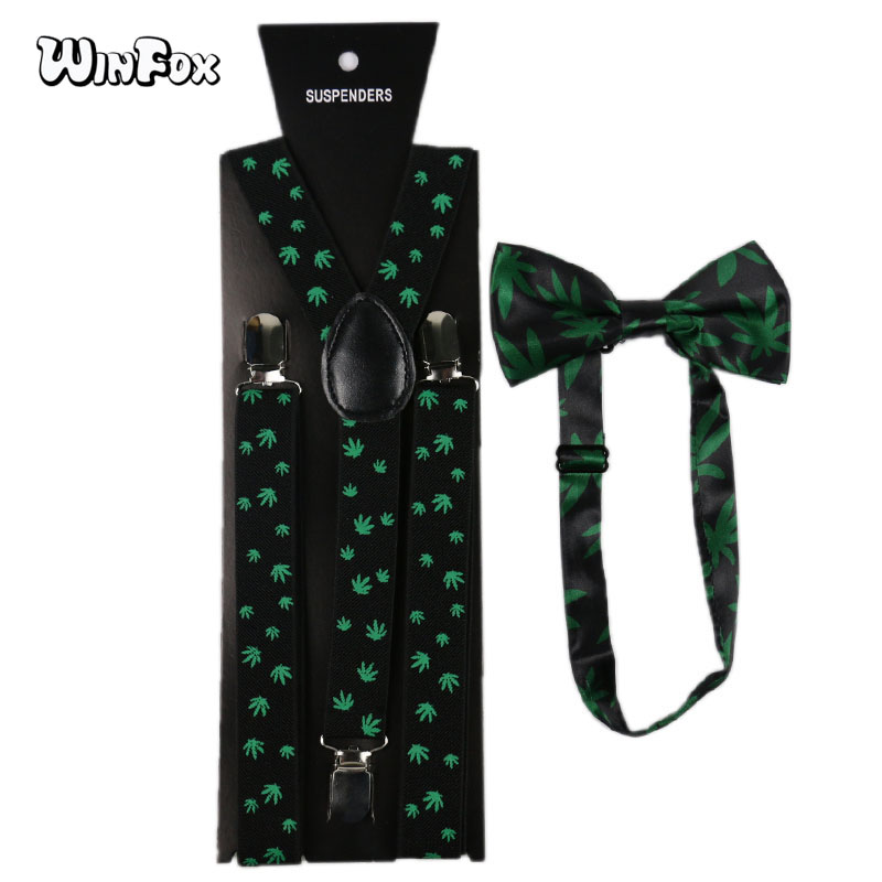 Winfox Vintage Black Green Weed Leaf Suspenders Braces Bowtie Female Bretels 2.5cm Wide Suspenders Bow Tie Set Men Women