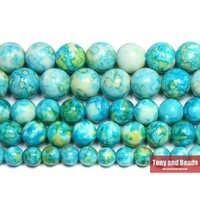 """Livraison gratuite naturel lac bleu coloré pierre ronde perles en vrac 15 """"brin 4 6 8 10 12 MM Pick Size pour bijoux"""
