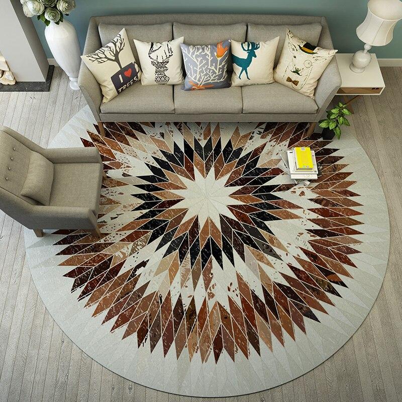 Tapis géométrique rond chaise ordinateur Simple nordique chambre chevet dégradé treillis tapis de sol pleine propagation tapis de salon