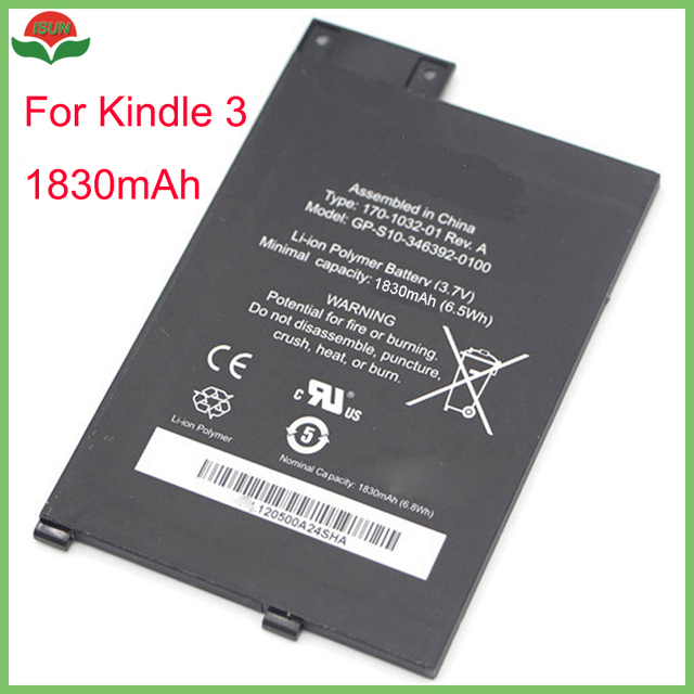 US $12 6 6% OFF|ISUN good quality 1830mAh real capacity polymer lithium  battery for amazon kindle 3 wifi battery replacement -in Mobile Phone