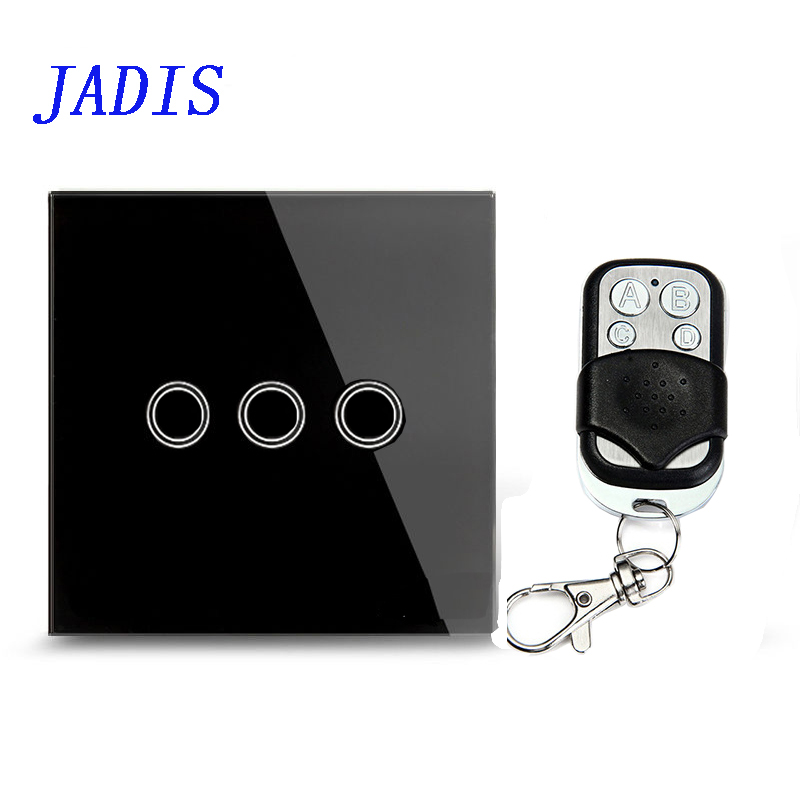 Standard EU / UK JADIS Remote Control Switch 3 Gang 1 Way, Wall Touch Switch,black Glass Glass + Blue LED Indicator smart home eu touch switch wireless remote control wall touch switch 3 gang 1 way white crystal glass panel waterproof power