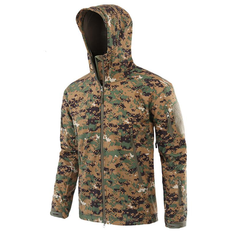Image 5 - Tactical Jacket Men Military Camouflage Shark Skin Soft Shell Waterproof Hooded Jackets Outdoor Camo Fleece Warm Raincoat Coats-in Jackets from Men's Clothing