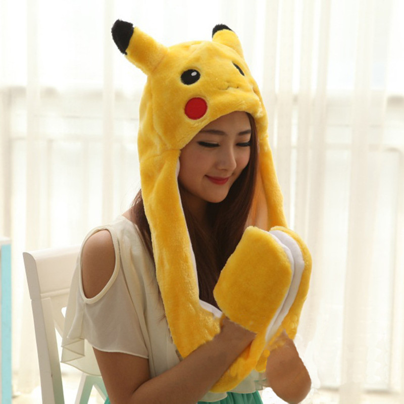 Cosplay Pikachu Totoro Pokemon Go Faux Fur Full Hood Kids Hat with Long Scarf Mittens Gloves Christmas Gift For Women Children
